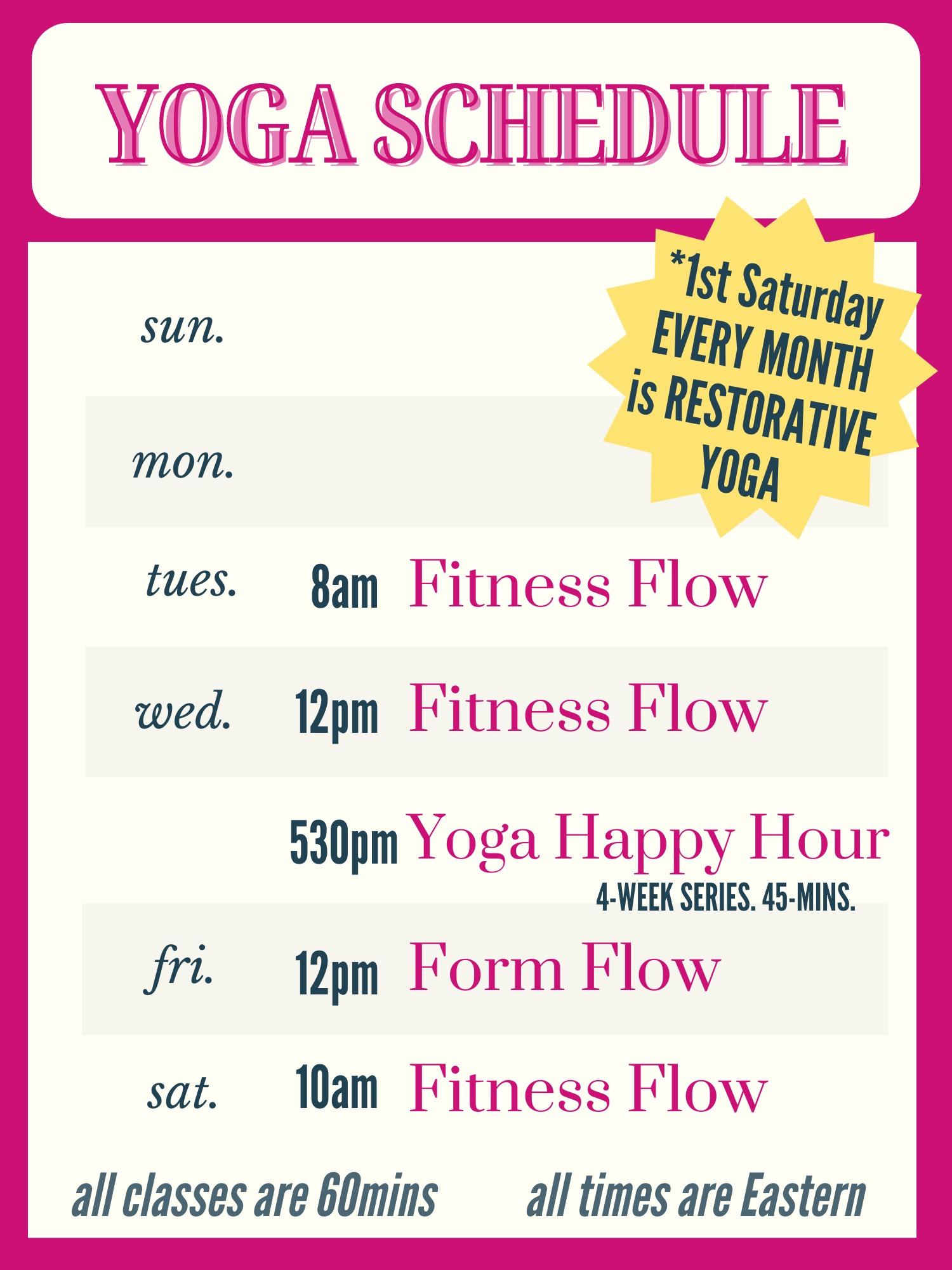 Rebecca Bly Glow Yoga Club Schedule rebeccably.com