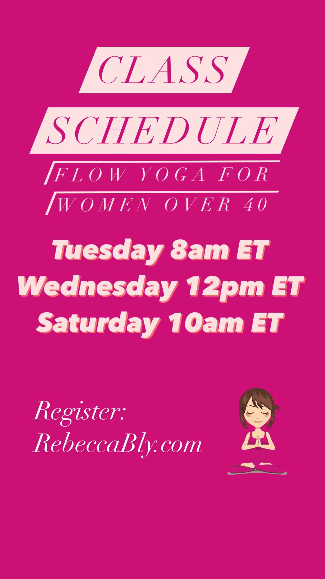 Rebecca Bly Class Schedule rebeccably.com for women over 40